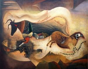 """Suite Pariétale XXV """"Chaconne"""" - Huile sur toile, 81 x 100 cm"""
