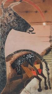 """Suite Pariétale XIII """"Nocturne"""" - huile sur toile - 40 x 80 cm"""