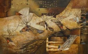 """Suite pariétale XVIII """"Pavane"""" - huile sur toile - 73 x 116 cm"""