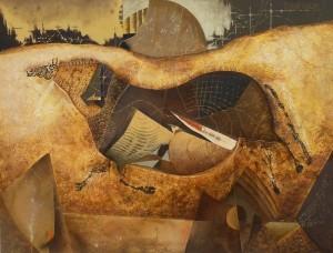 """Suite pariétale XVII """"Passepied"""" - huile sur toile - 116 x 89 cm"""