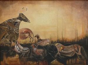 """Suite pariétale XXX """"Larghetto"""" - Huile sur toile, 100 x 73 cm"""