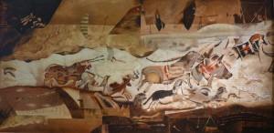 """Suite Pariétale XI - """"Sarabande"""" - Huile sur toile - 120 x 60 cm"""