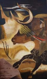 Suite pariétale XXI - Oratorio pour la nuit des temps - huile sur toile - 89 x 146 cm