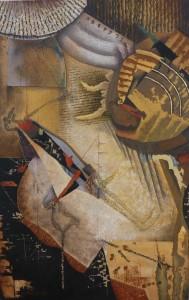 """Suite pariétale XXIV - Etude pour """"la scène du puits"""" - huile sur toile - 92 x 60 cm"""